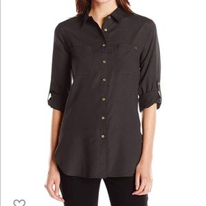 NWT Calvin Klein Black Dress Blouse Button Front